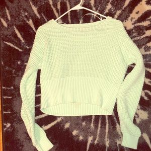 BAR III WAFFLE CROPPED SWEATER MINT GREEN SIZE M